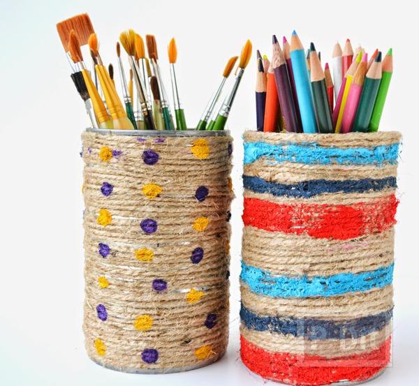 กล่องดินสอสี กล่องพู่กันะดับเชือก ทาสี