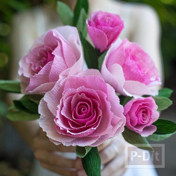 ช่อดอกไม้กระดาษ ทำเองลายสวย