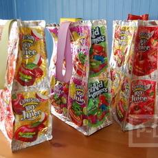 ทำถุงใส่ของ จากถุงน้ำผลไม้