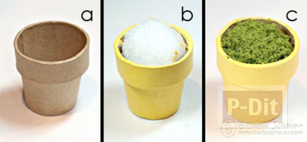 รูป 4 ดอกไม้กระถาง ทำจากกระดุม