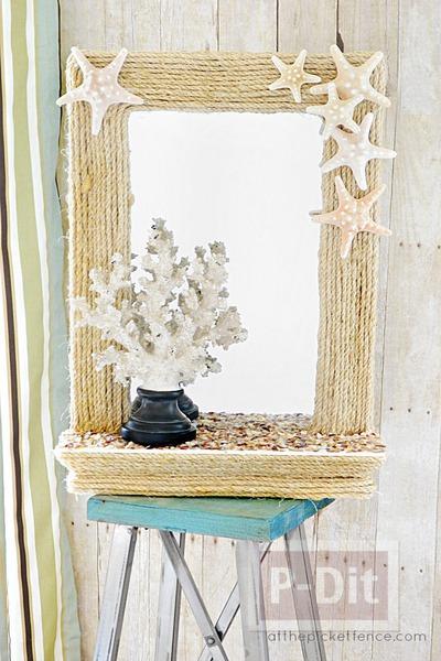 กระจกสวยๆ ตกแต่งด้วยเชือก เปลือกหอย