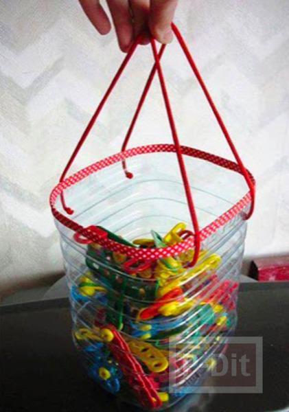 รูป 3 ไอเดียทำที่ใส่ของเล่น จากขวดน้ำพลาสติก