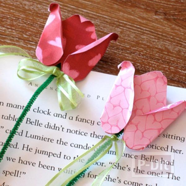 ทำที่คั่นหนังสือ ดอกไม้กระดาษ สีสวย