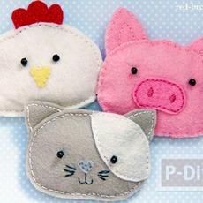 ตุ๊กตาหมู แมว ไก่ เย็บน่ารักๆ