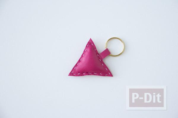 รูป 3 พวงกุญแจหนัง ลายสามเหลี่ยม หกเหลี่ยม…
