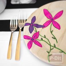 วาดรูปดอกไม้ ประดับจานรองจานข้าว