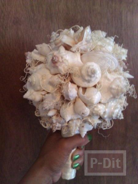 ช่อดอกไม้งานแต่งงาน ทำจากเปลือกหอย