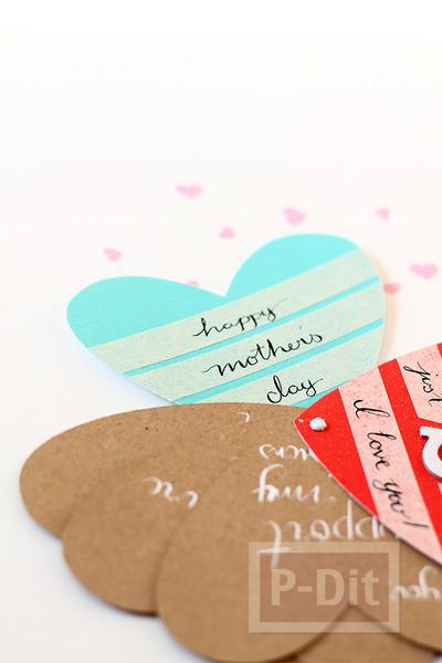 รูป 4 ไอเดียทำการ์ดวันแม่ หัวใจ 3 ดวง