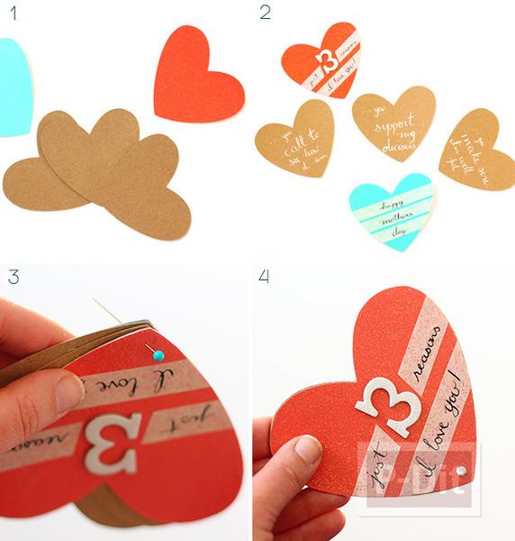 รูป 5 ไอเดียทำการ์ดวันแม่ หัวใจ 3 ดวง