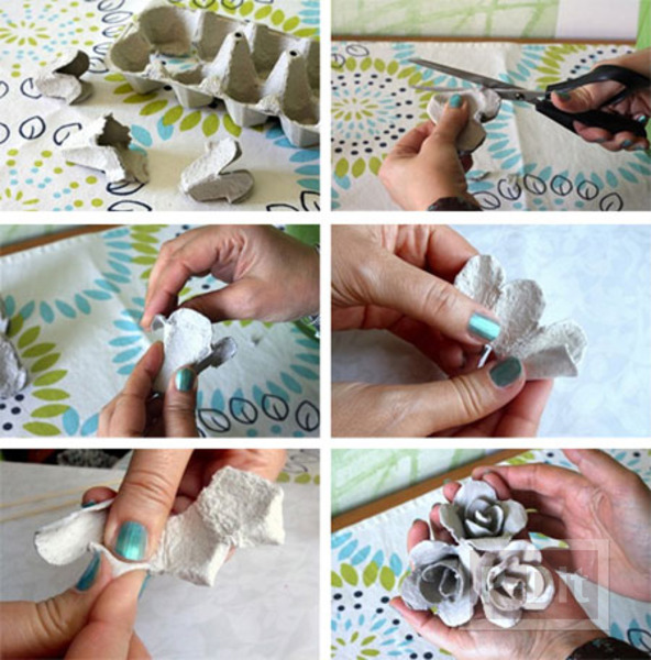 รูป 5 ตกแต่งกรอบกระจก ลายดอกกุหลาบ ทำจากรังไข่