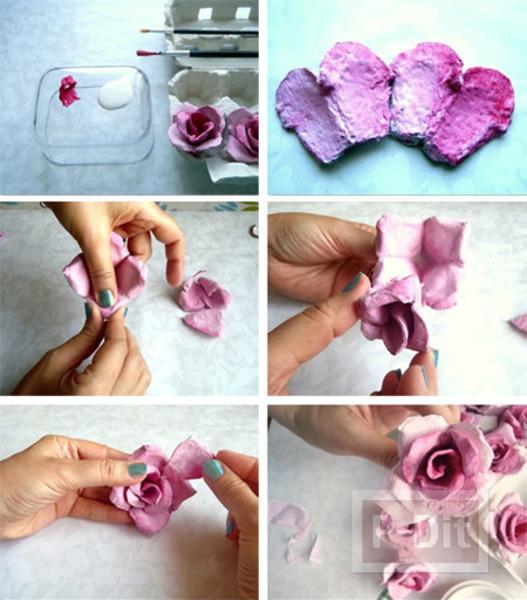 รูป 6 ตกแต่งกรอบกระจก ลายดอกกุหลาบ ทำจากรังไข่