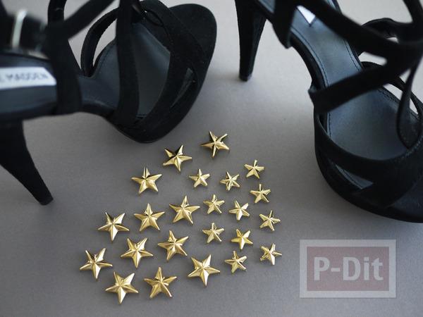 รูป 2 รองเท้าส้นสูง ประดับดาว สีทอง