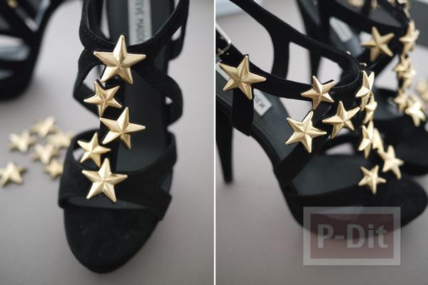 รูป 7 รองเท้าส้นสูง ประดับดาว สีทอง