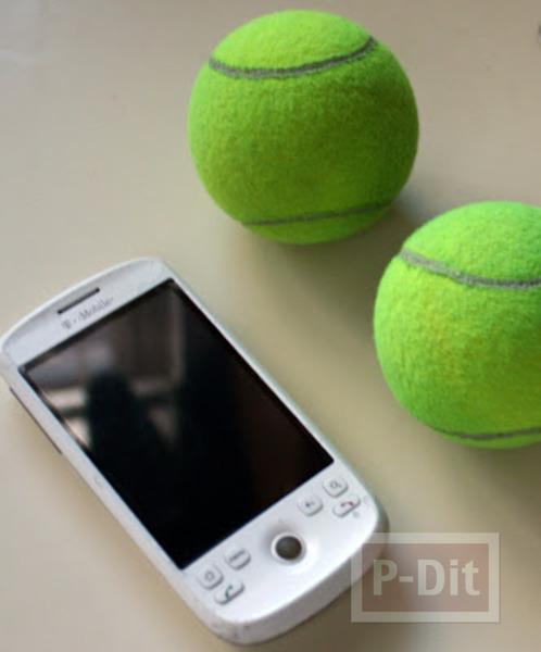 รูป 2 สอนทำที่วางโทรศัพท์ จากลูกเทนนิส
