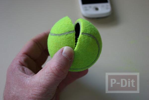 รูป 4 สอนทำที่วางโทรศัพท์ จากลูกเทนนิส