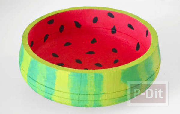 ชามลายแตงโม ระบายสีสด
