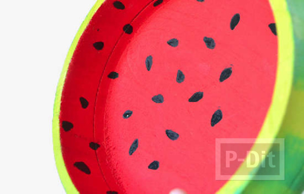รูป 3 ชามลายแตงโม ระบายสีสด