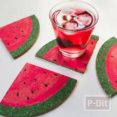 ทำที่รองแก้ว จากแผ่นไม้ก็อก วาดลายแตงโม