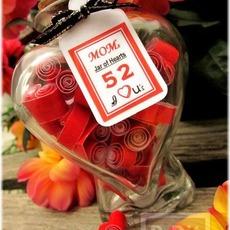 บอกรักแม่ กระดาษรูปหัวใจ ในขวดโหล