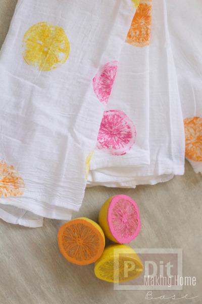 รูป 1 ปั้มลายผ้าสวยๆ ด้วยลูกมะนาว