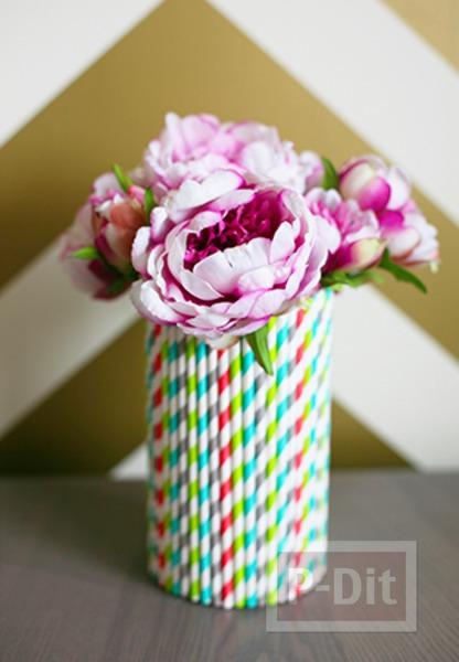 รูป 2 แจกันดอกไม้ ทำจากกระป๋อง ประดับหลอดสวย