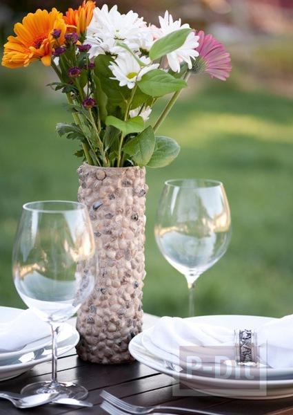 แจกันดอกไม้ ประดับก้อนหิน ทำจากขวดขนม