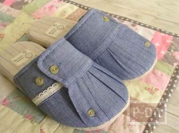 รูป 1 รองเท้าใส่ในบ้าน ทำจากแขนเสื้อเชิ๊ต