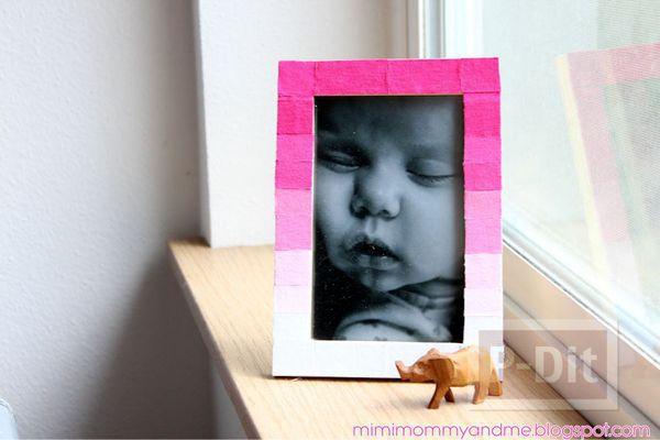 กรอบรูปตกแต่งเศษผ้า สีสดใส