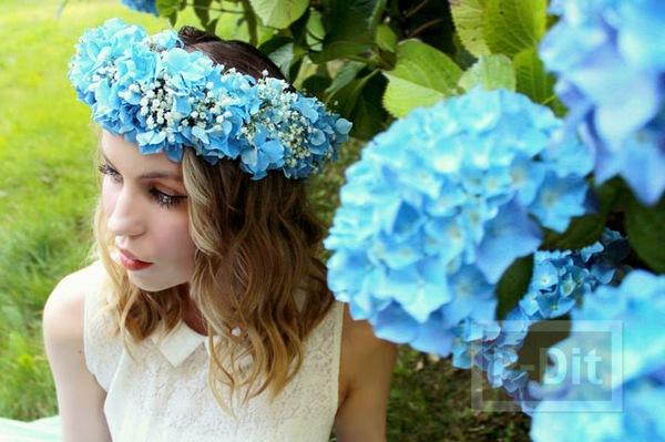 มงกุฎดอกไม้สด ทำเอง สีสวย