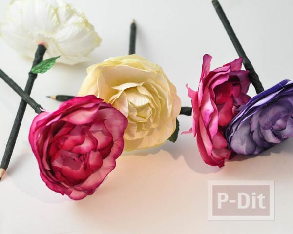 รูป 3 ดินสอไม้ ประดับดอกไม้ประดิษฐ์