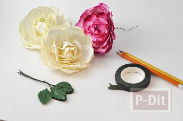 รูป 6 ดินสอไม้ ประดับดอกไม้ประดิษฐ์
