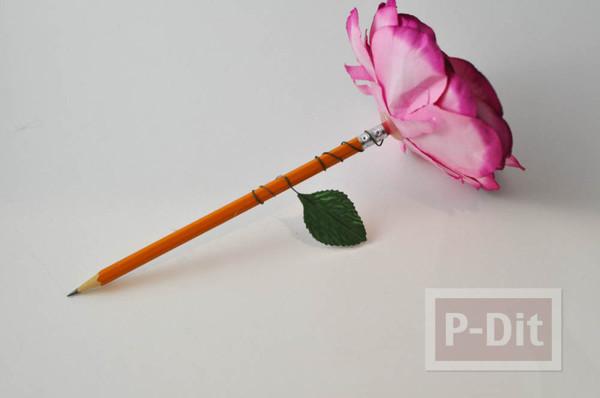 รูป 7 ดินสอไม้ ประดับดอกไม้ประดิษฐ์