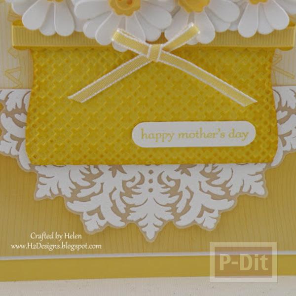 รูป 3 การ์ดวันแม่ ตะกร้าใส่ดอกไม้ สีเหลืองสด