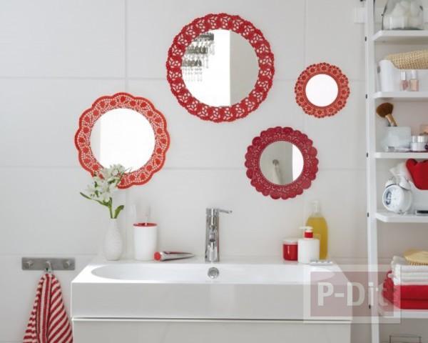 กระจกห้องน้ำ ตกแต่งด้วยกระดาษรองเค้ก พ่นสี
