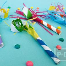 ที่เป่าสีสวย ของเล่นงานปาร์ตี้ ทำเองจากกระดาษ
