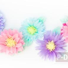 ดอกไม้กระดาษ ทำจากกระดาษว่าวสีสวย