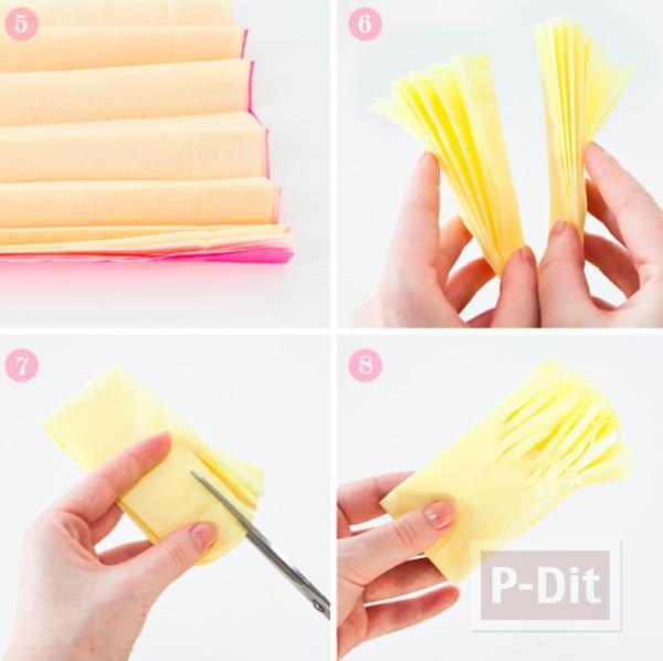 รูป 4 ดอกไม้กระดาษ ทำจากกระดาษว่าวสีสวย