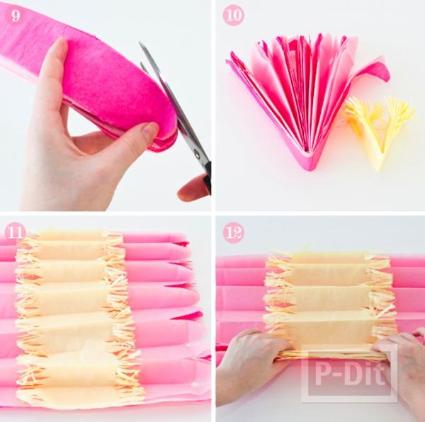 รูป 5 ดอกไม้กระดาษ ทำจากกระดาษว่าวสีสวย