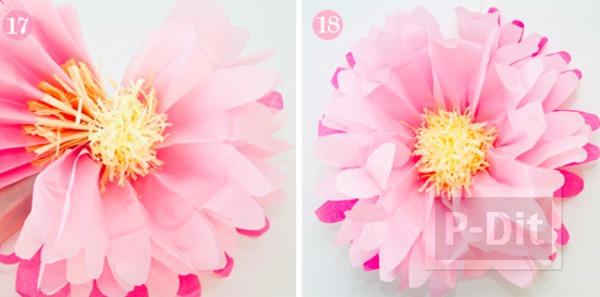 รูป 7 ดอกไม้กระดาษ ทำจากกระดาษว่าวสีสวย