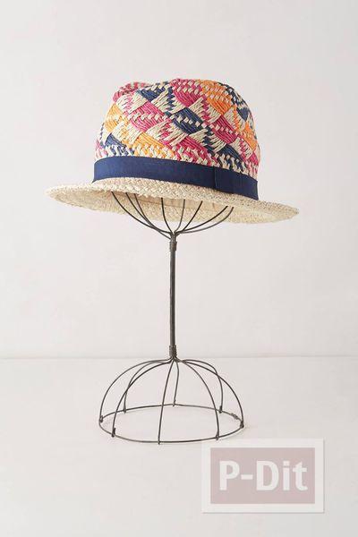 ตกแต่งลายหมวก จากไหมพรมสีสด