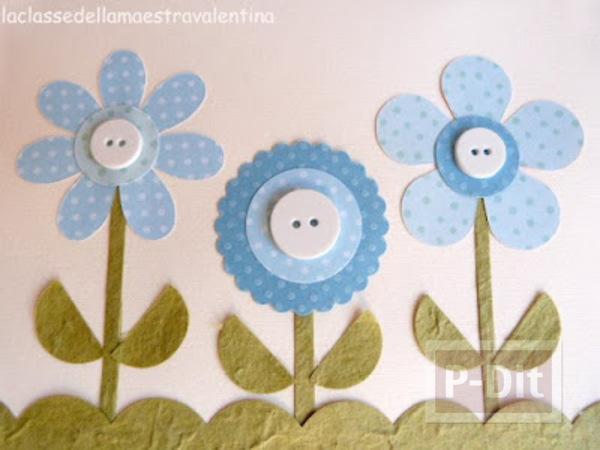 รูป 3 ประดิษฐ์การ์ดสวยๆ ดอกไม้ประดับกระดุม