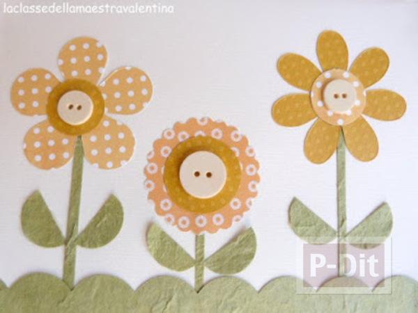 รูป 4 ประดิษฐ์การ์ดสวยๆ ดอกไม้ประดับกระดุม