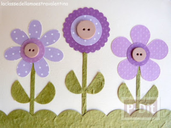 รูป 5 ประดิษฐ์การ์ดสวยๆ ดอกไม้ประดับกระดุม