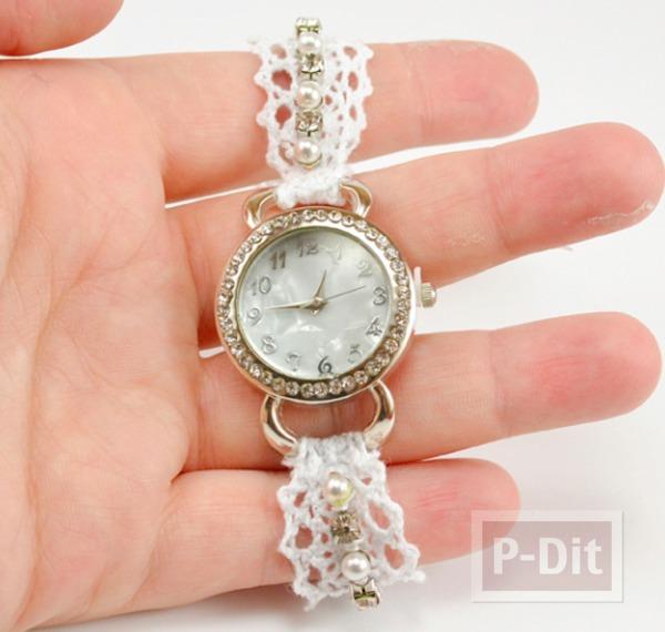 สายนาฬิกา ทำจากโครเชถักลายสวย ประดับเม็ดมุก