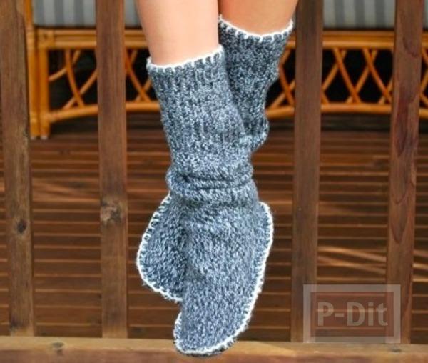 สอนทำรองเท้า-ถุงเท้า ใส่ในบ้าน จากเสื้อกันหนาว