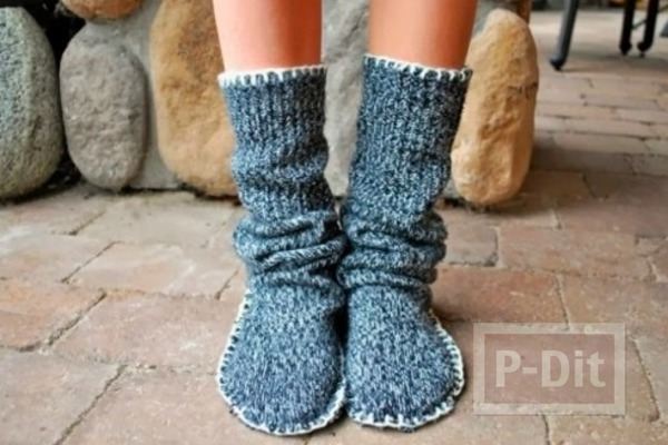 รูป 3 สอนทำรองเท้า-ถุงเท้า ใส่ในบ้าน จากเสื้อกันหนาว