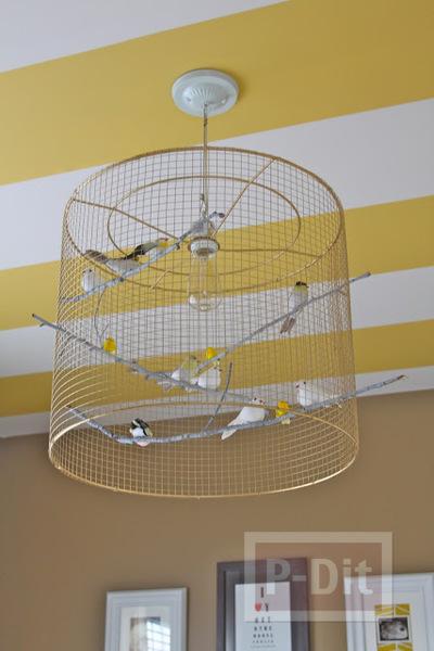 รูป 3 โคมไฟเก่าๆ นำมาตกแต่งใหม่ ใส่ตะแกรง ประดับนก
