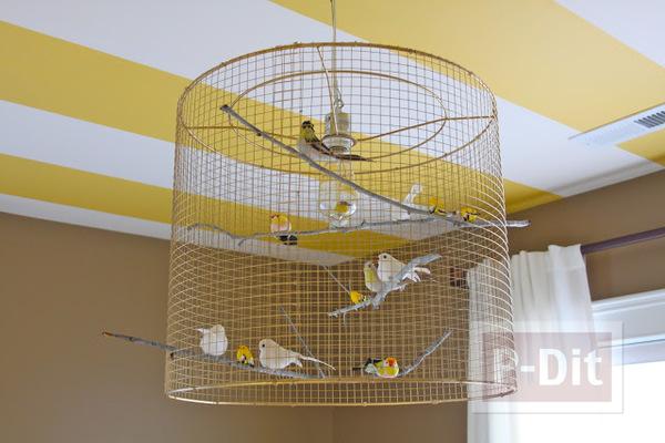 รูป 5 โคมไฟเก่าๆ นำมาตกแต่งใหม่ ใส่ตะแกรง ประดับนก