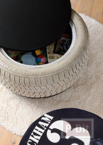 รูป 1 ไอเดียทำที่เก็บของเล่น จากยางรถยนต์เก่าๆ