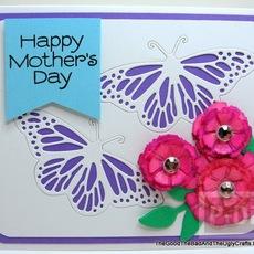 ไอเดียทำการ์ดวันแม่ ผีเสื้อบินรอบดอกไม้